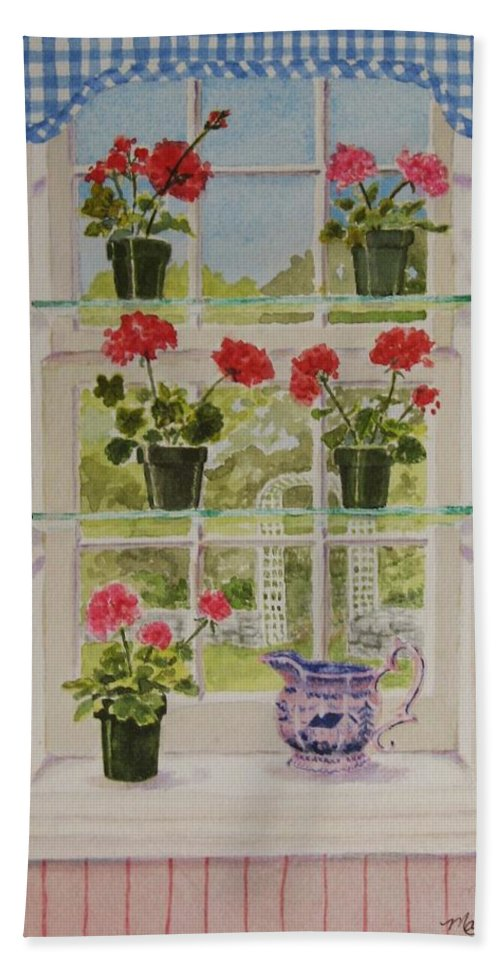 Window Beach Towel featuring the painting Look Through My Window again by Mary Ellen Mueller Legault