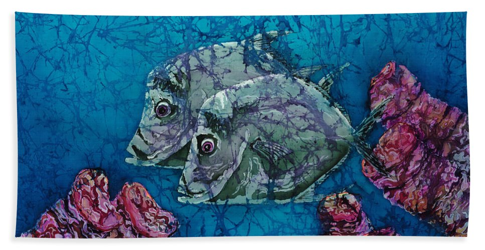 Lookdowns Beach Towel featuring the painting Lookdowns Pair by Sue Duda