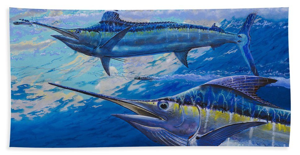 Marlin Beach Towel featuring the painting Lookers Off0019 by Carey Chen