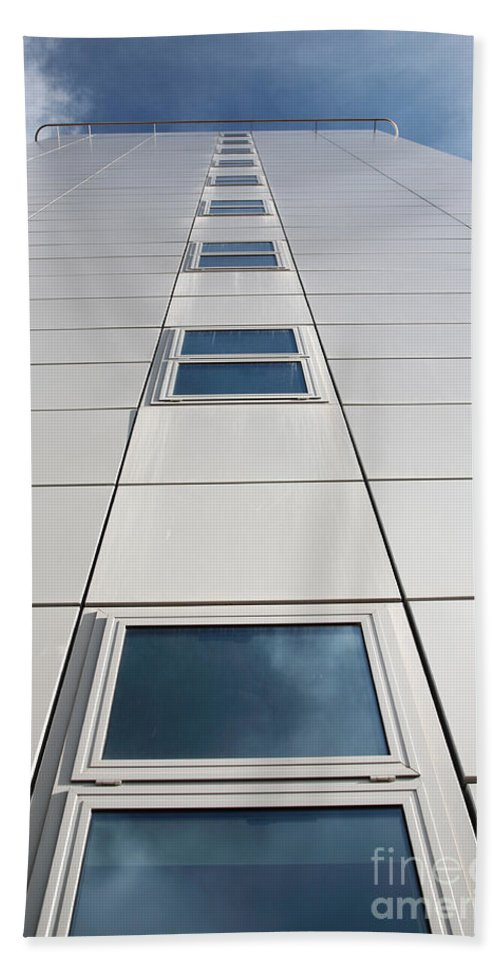 Abstract Beach Towel featuring the photograph Looking Up At A Modern Building by Deborah Benbrook