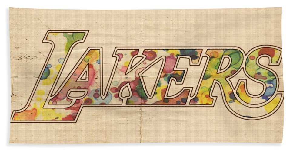 Los Angeles Lakers Beach Towel featuring the painting Los Angeles Lakers Logo Art by Florian Rodarte