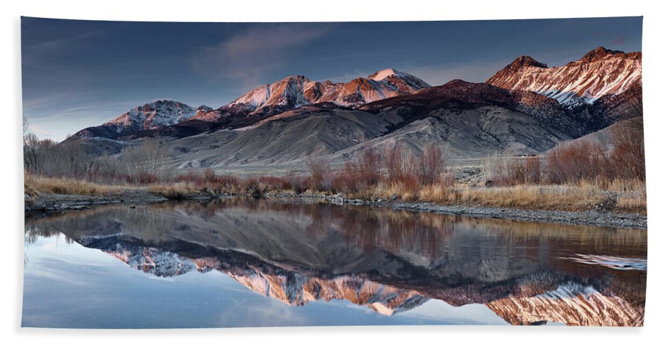 Idaho Scenics Beach Towel featuring the photograph Lost River Mountains Winter Reflection by Leland D Howard