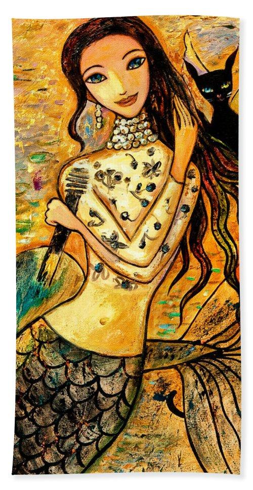 Mermaid Art Beach Towel featuring the painting Lotus Pool by Shijun Munns