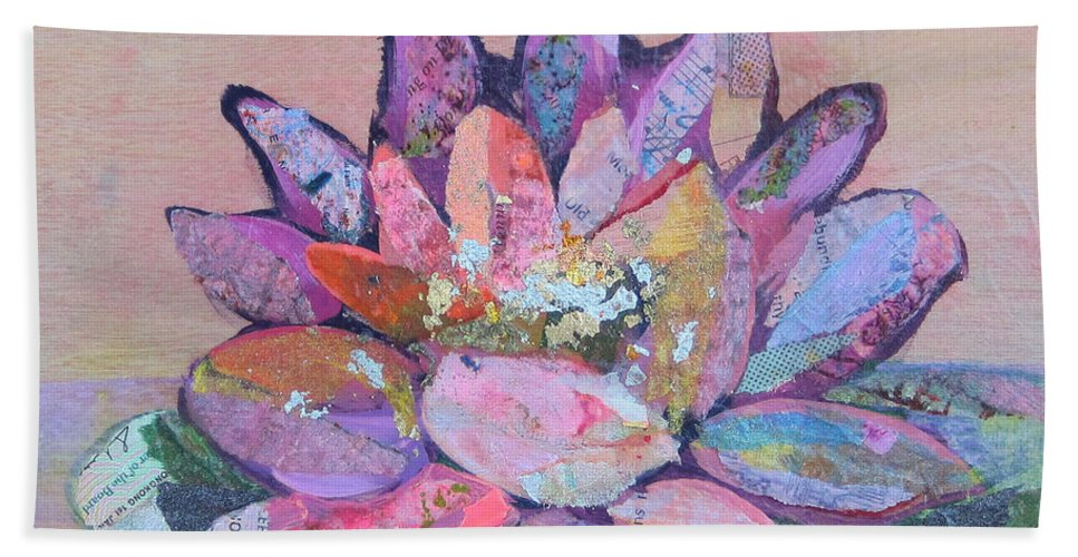 Pink Flower Beach Towel featuring the painting Lotus V by Shadia Derbyshire