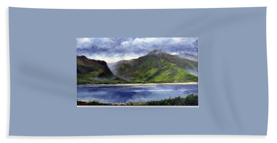 Irish Beach Towel featuring the painting Loughros Bay Ireland by Jim Gola