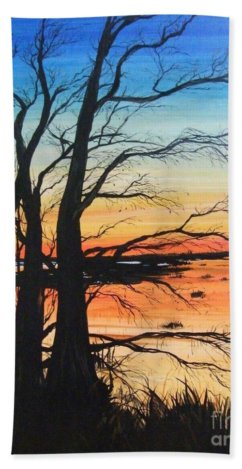 Painting Beach Towel featuring the painting Louisiana Lacassine Nwr Treescape by Lizi Beard-Ward