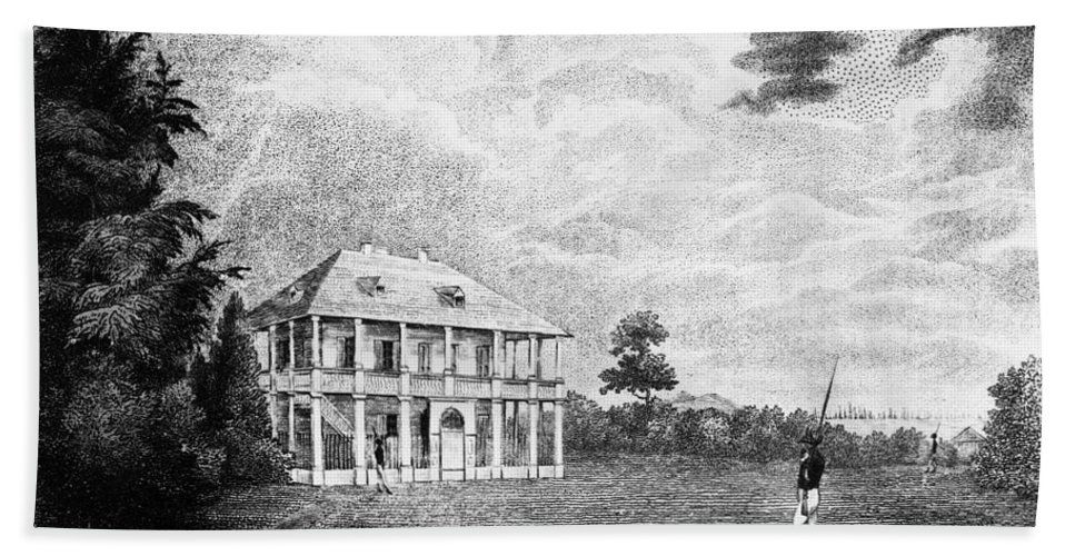 1800 Beach Towel featuring the painting Louisiana Planter's Home by Granger