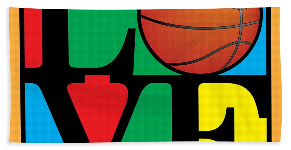 Vector Beach Towel featuring the digital art Love Basketball by Gary Grayson