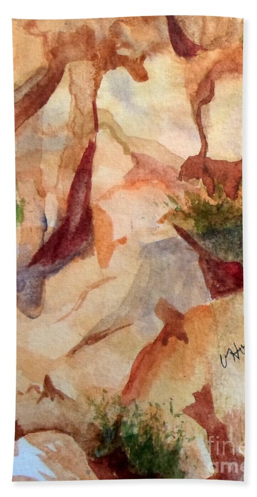 Heart Beach Towel featuring the painting Love In The Rocks Medjugorje 2 by Vicki Housel