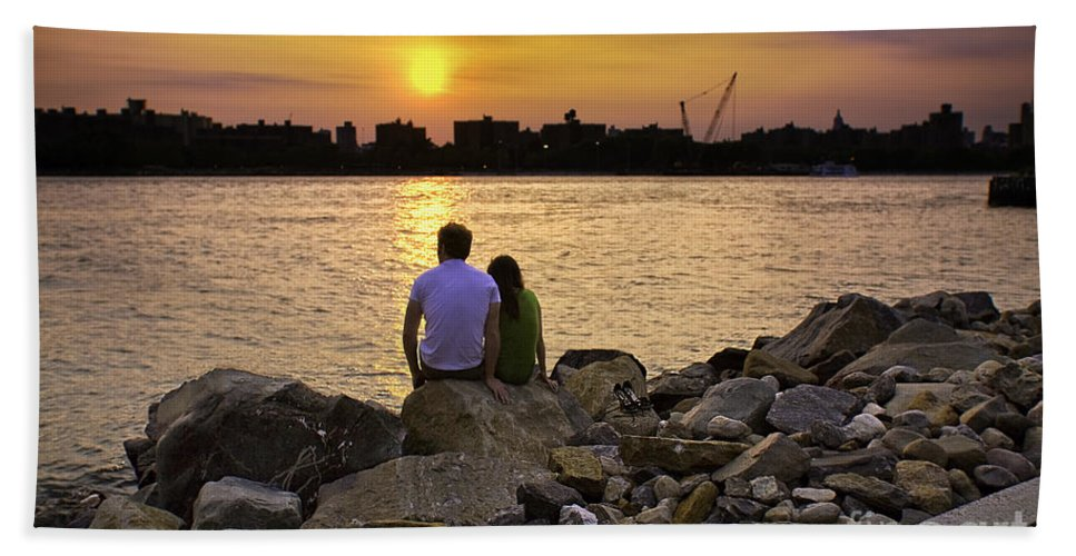 Man Beach Towel featuring the photograph Love On The Rocks In Brooklyn by Madeline Ellis