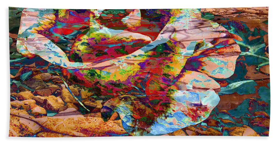 Abstract Beach Towel featuring the digital art Love by Yael VanGruber
