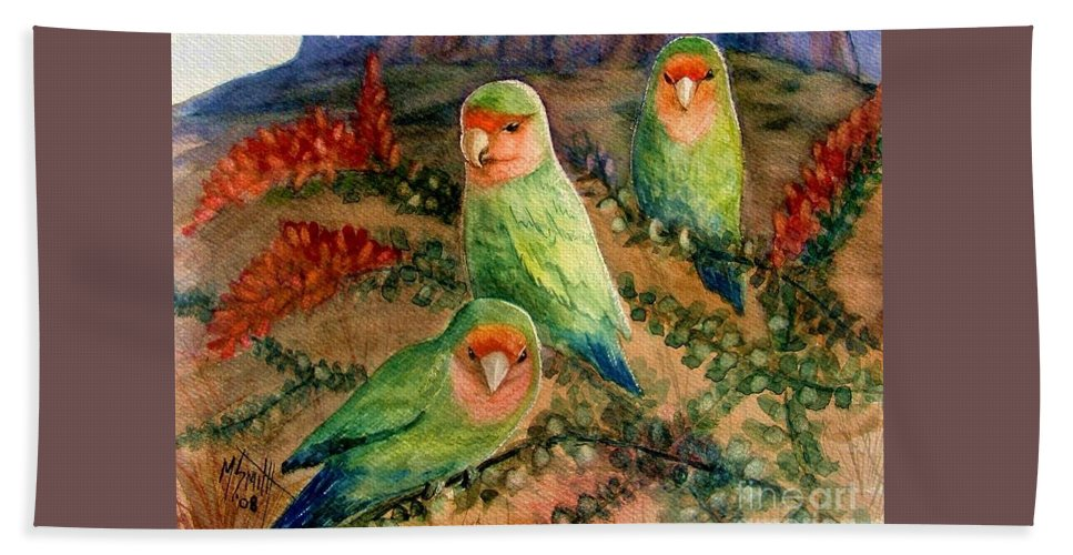 Birds Beach Towel featuring the painting Lovebirds by Marilyn Smith