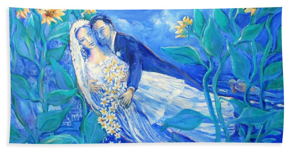 Young Lovers Beach Towel featuring the painting Lovers And Sunflowers After Marc Chagall by Trudi Doyle