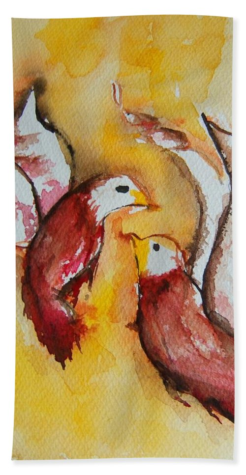 Love Birds Beach Towel featuring the painting Lovey Dovey by Elaine Duras