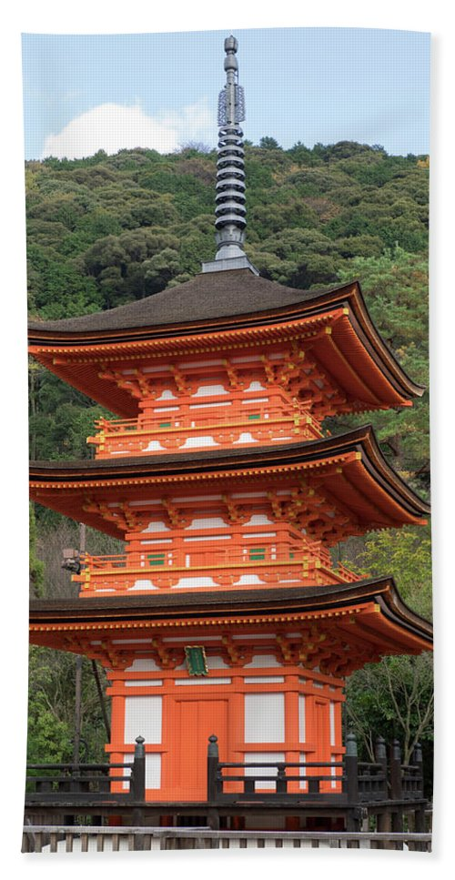 Photography Beach Towel featuring the photograph Low Angle View Of A Small Pagoda by Panoramic Images