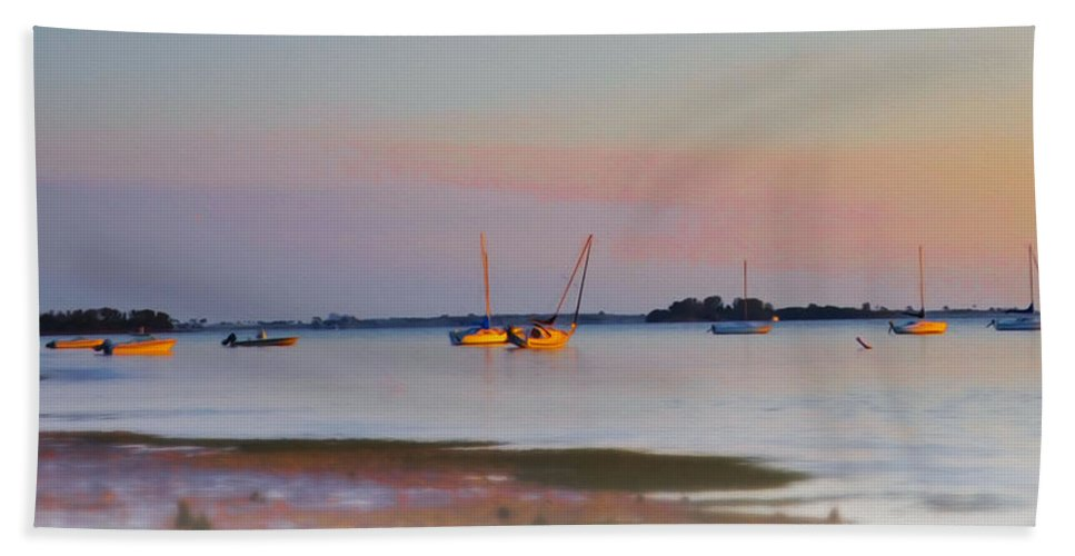 Low Beach Towel featuring the photograph Low Tide At Crystal Beach by Bill Cannon