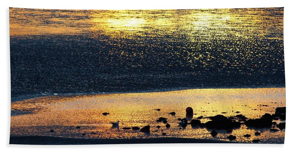 Sun Set Beach Towel featuring the photograph Low Tide Gold by Robert Phelan