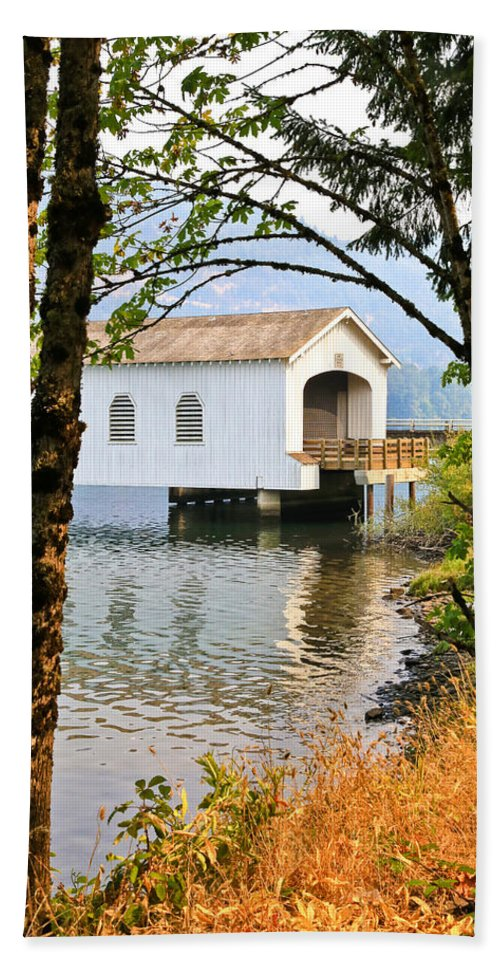 Lowell Covered Bridge Beach Towel featuring the photograph Lowell Covered Bridge by Athena Mckinzie