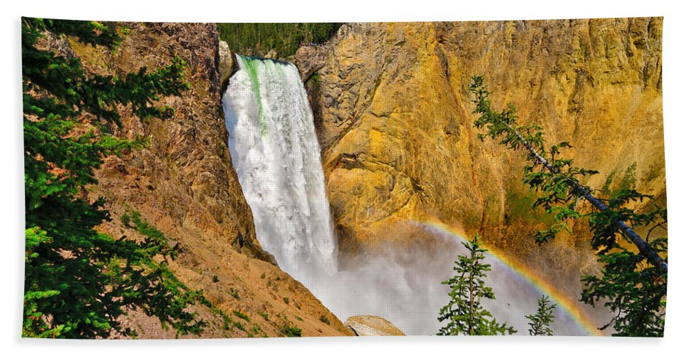Lower Falls Beach Towel featuring the photograph Lower Falls From Uncle Toms Trail by Greg Norrell