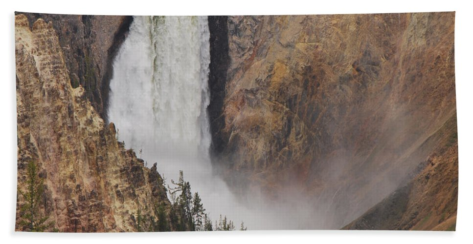 Yellowstone Beach Towel featuring the photograph Lower Falls - Yellowstone by Mary Carol Story