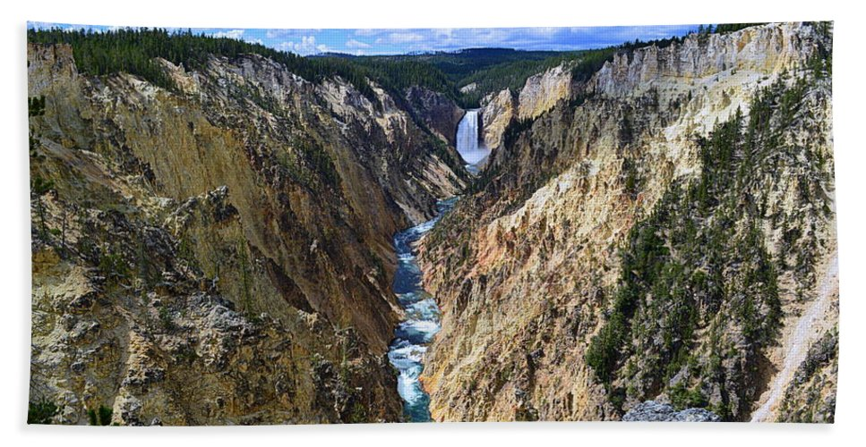 Lower Yellowstone Falls Beach Towel featuring the photograph Lower Yellowstone Falls Panorama by Catherine Sherman