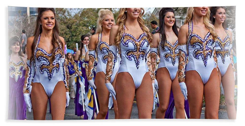 Lsu Beach Towel featuring the photograph Lsu Marching Band 4 by Steve Harrington