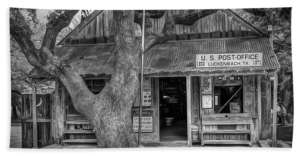 Luckenbach Beach Towel featuring the photograph Luckenbach 2 Black And White by Scott Norris