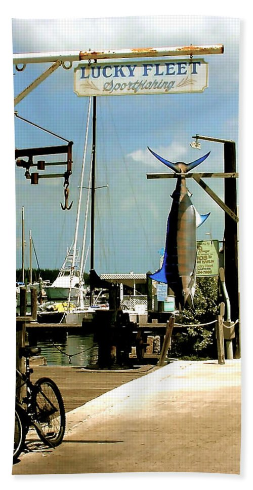 Key West Fishing Beach Towel featuring the painting Lucky Fleet Key West by Iconic Images Art Gallery David Pucciarelli