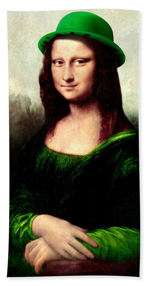 St Patrick's Day Beach Towel featuring the painting Lucky Mona Lisa by Gravityx9 Designs