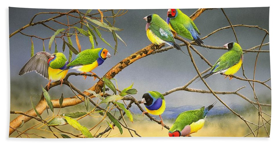 Gouldian Finches Beach Towel featuring the painting Lucky Seven - Gouldian Finches by Frances McMahon