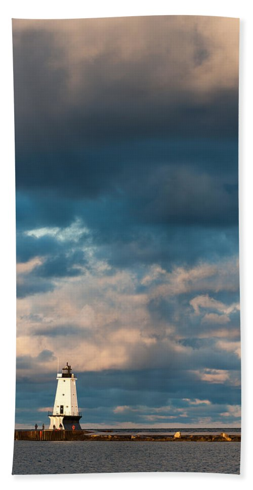 Clouds Beach Towel featuring the photograph Ludington North Breakwater Lighthouse At Sunrise by Sebastian Musial