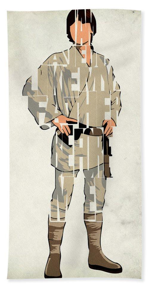 Luke Skywalker Beach Sheet featuring the digital art Luke Skywalker - Mark Hamill by Inspirowl Design