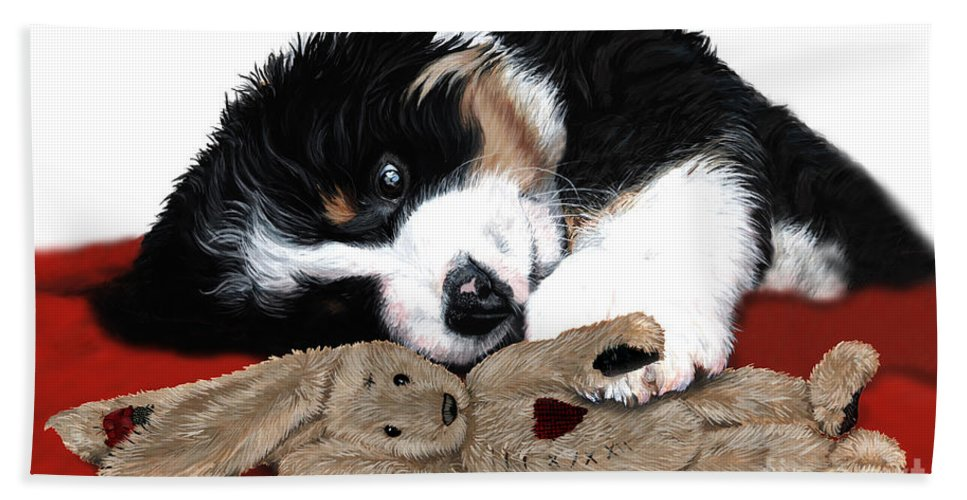 Bernese Mountain Dog Beach Towel featuring the painting Lullaby Berner And Bunny by Liane Weyers