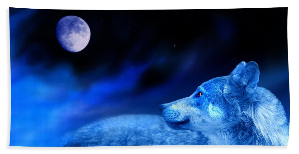 Wolf Beach Towel featuring the photograph Lunar Wolf 2 by Mal Bray