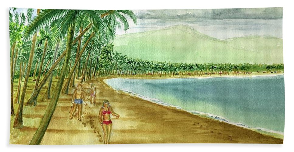 Luquillo Beach El Yunque Mountains Girl Red Bikini Palm Trees Clouds Beach Towel featuring the painting Luquillo Beach And El Yunque Puerto Rico by Frank Hunter