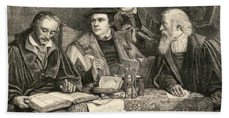 Martin Luther; Excommunicated In 1520; Protestant; Protestantism; Lutheran Church; Revolt; Priest; 16th; Pupils; Pupil; Teacher; Protestants; Male; Portrait; Translators; Translation; Interior; Discussion Beach Towel featuring the drawing Luther Melancthon Pomeranus And Cruciger Translating by English School