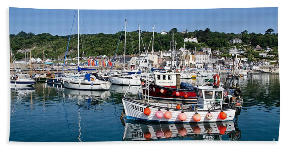 Lyme Regis Beach Towel featuring the photograph Lyme Regis Harbour On A July Morning by Susie Peek