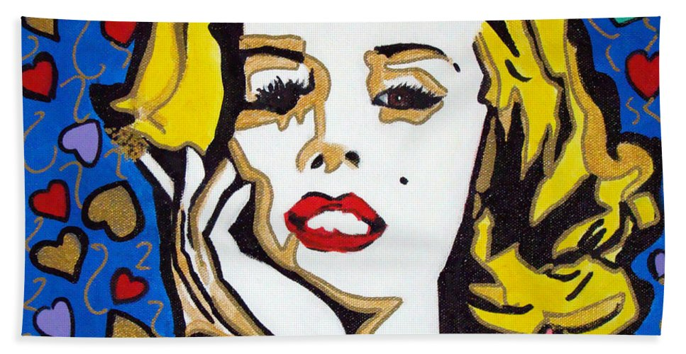 Pop-art Beach Towel featuring the painting M M by Silvana Abel