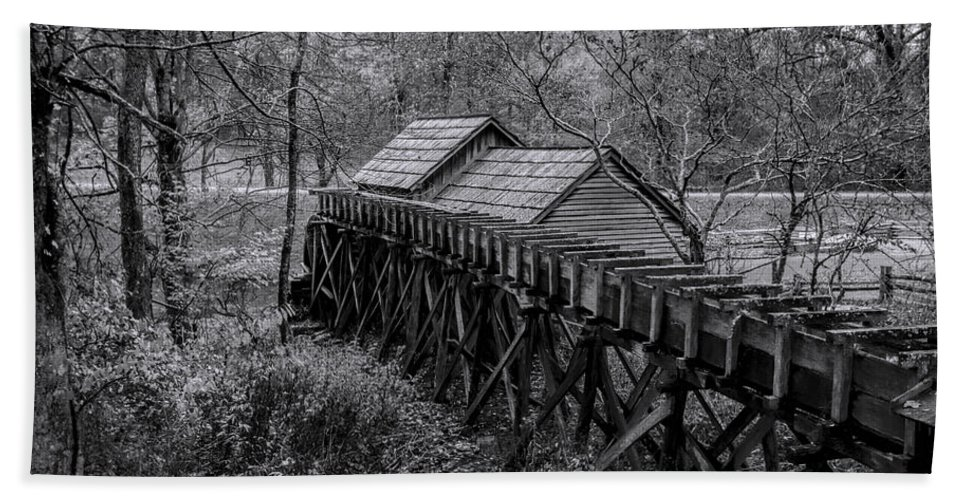 Mabry Mill Beach Towel featuring the photograph Mabry Mill Water Shute In Black And White by Kathy Clark