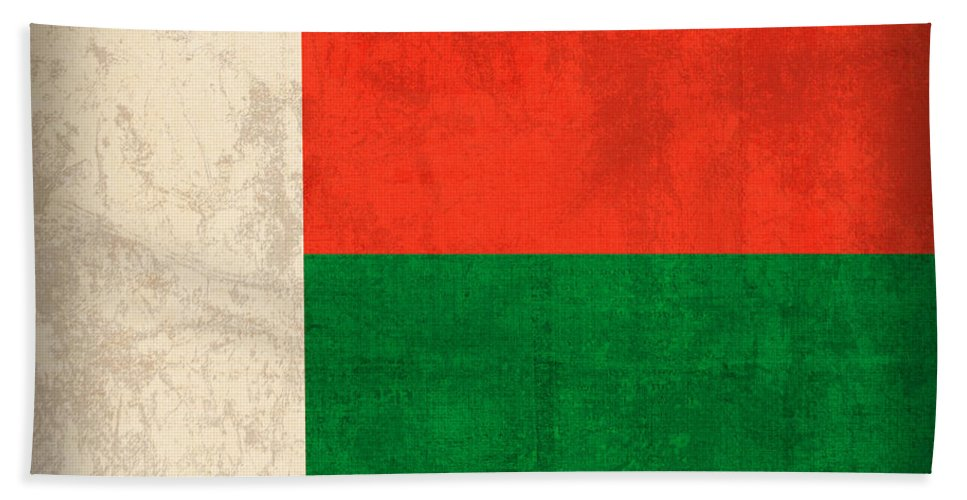 Madagascar Beach Towel featuring the mixed media Madagascar Flag Vintage Distressed Finish by Design Turnpike