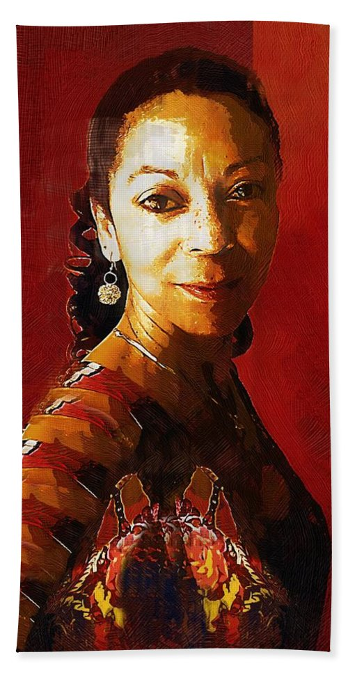 Portrait Beach Towel featuring the painting Madame Exotic by RC DeWinter