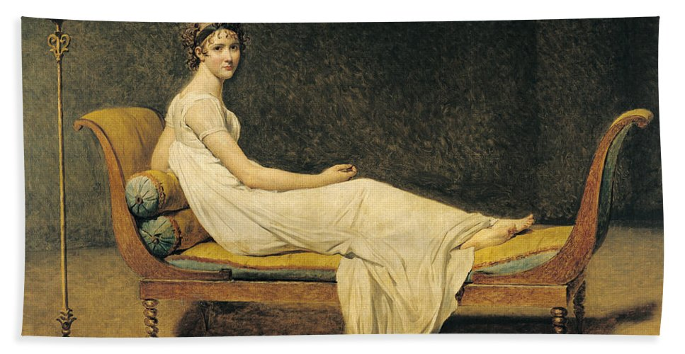 Portrait Beach Towel featuring the painting Madame Recamier by Jacques Louis David