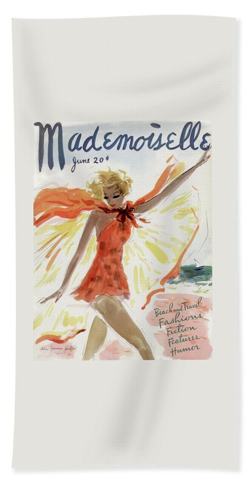 Mademoiselle Cover Featuring A Model At The Beach Beach Towel