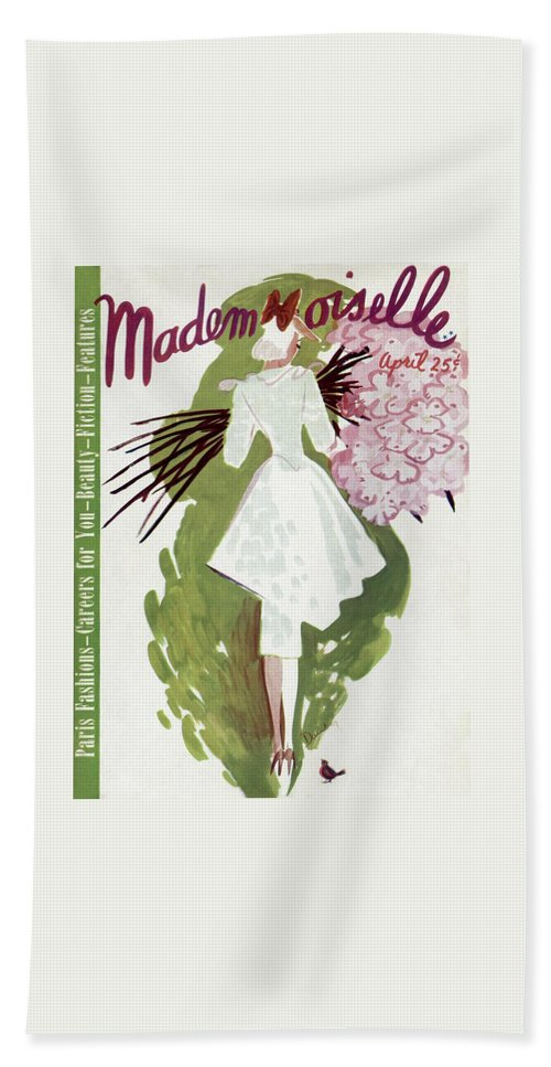 Fashion Beach Towel featuring the photograph Mademoiselle Cover Featuring A Woman Carrying by Elizabeth Dauber