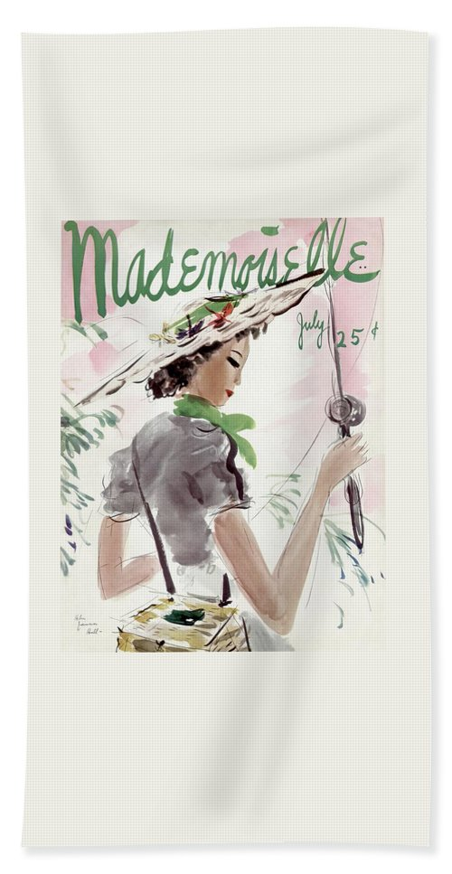Illustration Beach Sheet featuring the photograph Mademoiselle Cover Featuring A Woman Holding by Helen Jameson Hall