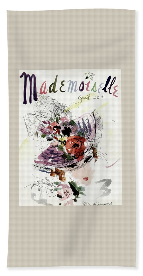 Fashion Beach Towel featuring the photograph Mademoiselle Cover Featuring An Illustration by Helen Jameson Hall