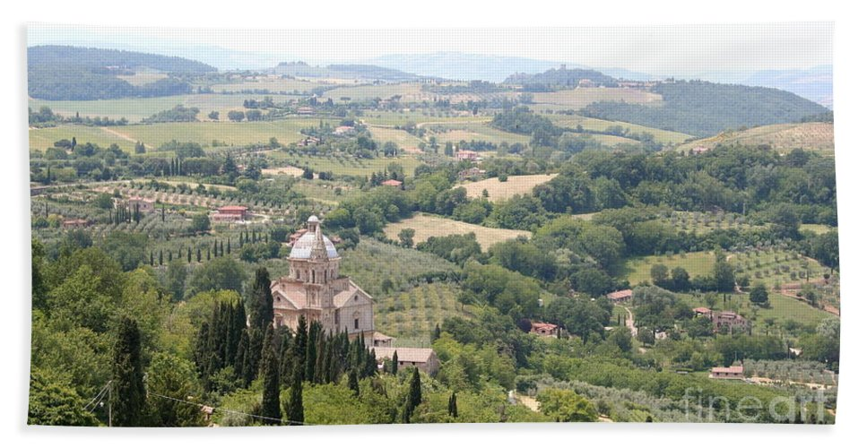 Pilgrimage Church Beach Towel featuring the photograph Madonna Di San Biagio Tuscany by Christiane Schulze Art And Photography