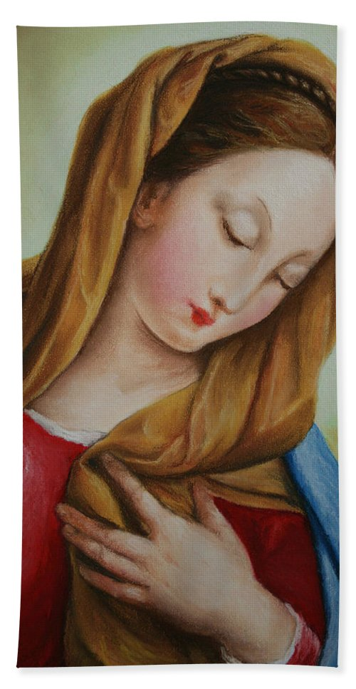 Madonna Beach Towel featuring the pastel Madonna by Marna Edwards Flavell