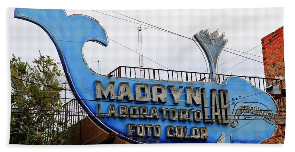 Argentina Beach Towel featuring the photograph Madryn Lab Whale Sign by Tap On Photo
