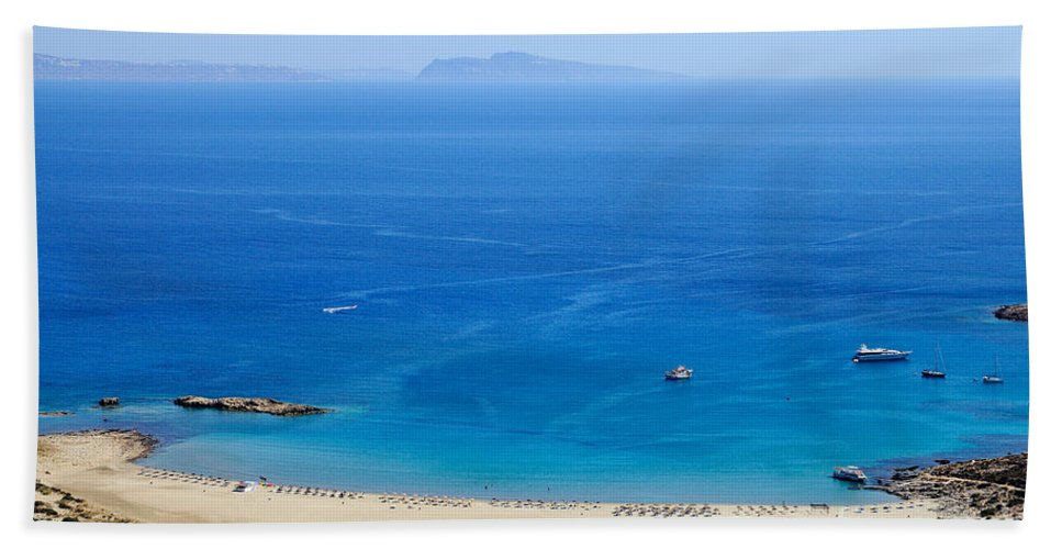 Ios Beach Towel featuring the photograph Maganari Beach by George Atsametakis